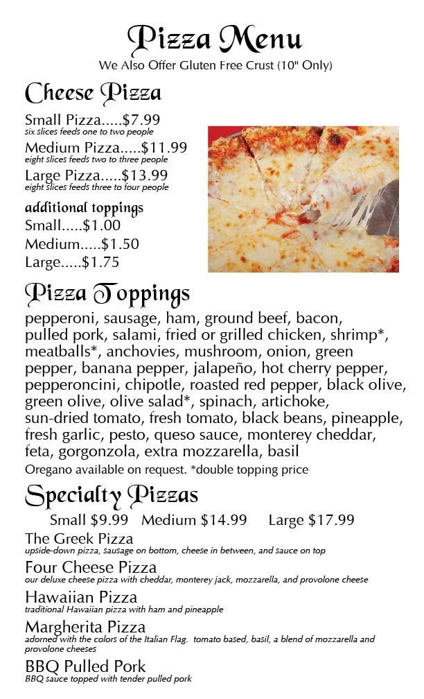 Menu Page 2 image Ravenite Pizzeria